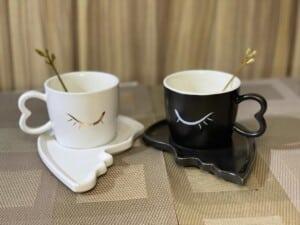 Duo Tasse sous tasse cuilliere pour couple amoureux